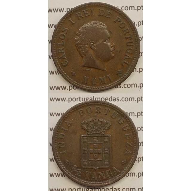 """1/2 TANGA COBRE MCMI - 1901 """"INDIA"""" (MBC+) D. CARLOS I"""
