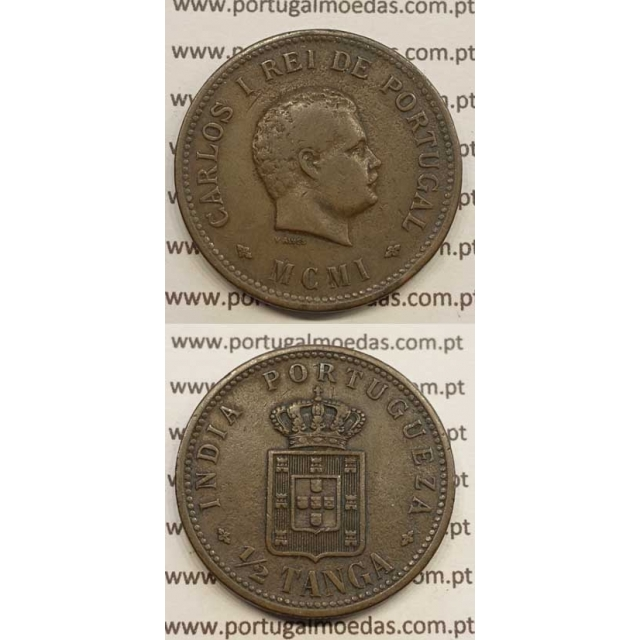 """1/2 TANGA COBRE MCMI - 1901 """"INDIA"""" (MBC) D. CARLOS I"""