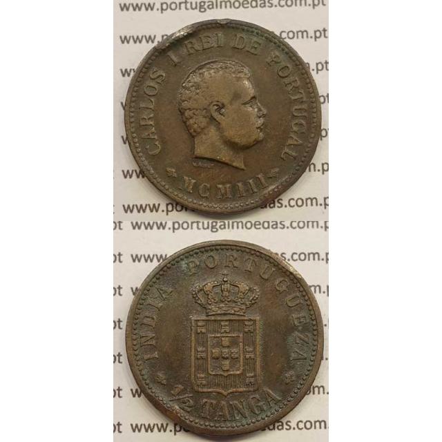 "1/2 TANGA COBRE MCMIII - 1903 ""INDIA"" (MBC+) D. CARLOS I"