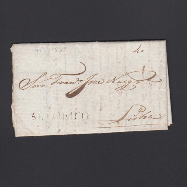 """Carta Pré-Filatélica circulada de Celorico """"SELORICO"""" para Lisboa datada de 04-11-1830"""