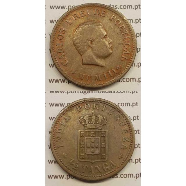 "1/2 TANGA COBRE MCMIII - 1903 ""INDIA"" (MBC) D. CARLOS I"
