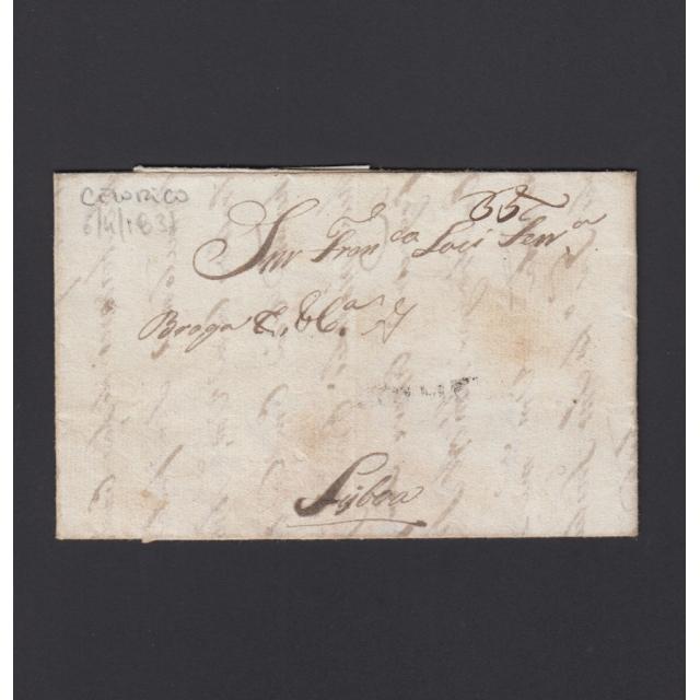 """Carta Pré-Filatélica circulada de Celorico """"SELORICO"""" para Lisboa datada de 06-04-1831"""