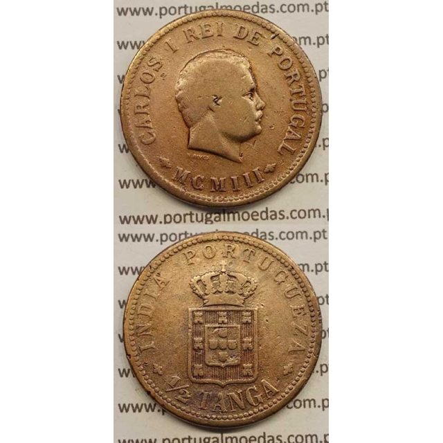 "1/2 TANGA COBRE MCMIII - 1903 ""INDIA"" (BC+) D. CARLOS I"