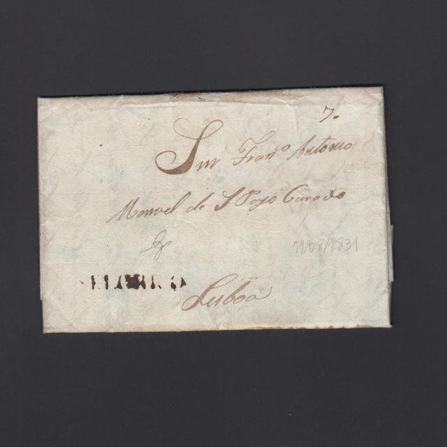 """Carta Pré-Filatélica circulada de Celorico """"SELORICO"""" para Lisboa datada de 11-08-1831"""