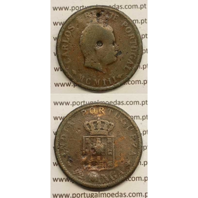 "1/2 TANGA COBRE MCMIII - 1903 ""INDIA"" (BC-) D. CARLOS I"