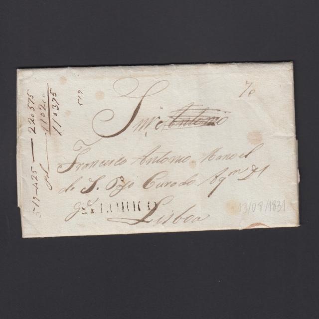 """Carta Pré-Filatélica circulada de Celorico """"SELORICO"""" para Lisboa datada de 13-08-1831"""