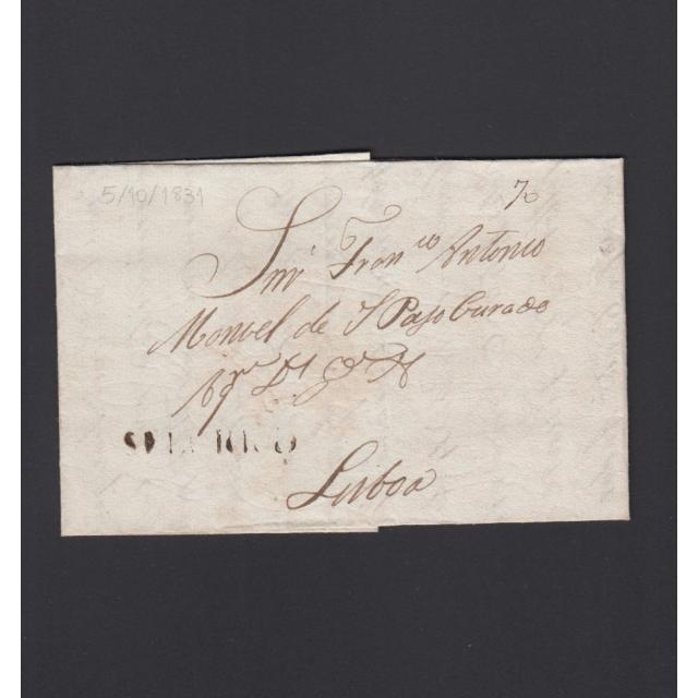 """Carta Pré-Filatélica circulada de Celorico """"SELORICO"""" para Lisboa datada de 05-10-1831"""