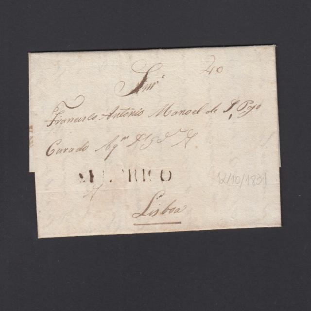 """Carta Pré-Filatélica circulada de Celorico """"SELORICO"""" para Lisboa datada de 12-10-1831"""
