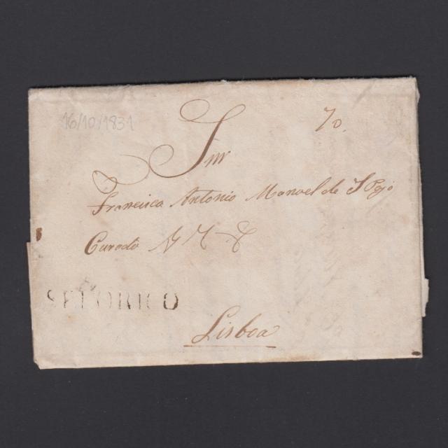 """Carta Pré-Filatélica circulada de Celorico """"SELORICO"""" para Lisboa datada de 16-10-1831"""