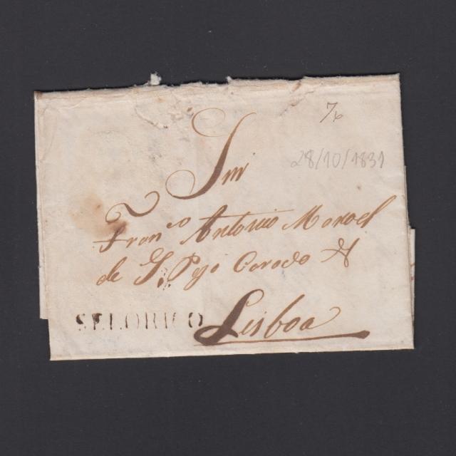 """Carta Pré-Filatélica circulada de Celorico """"SELORICO"""" para Lisboa datada de 28-10-1831"""
