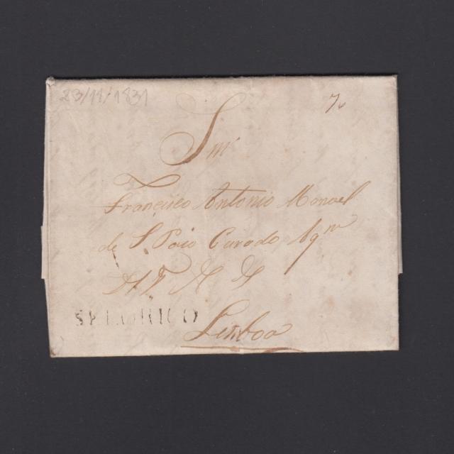 """Carta Pré-Filatélica circulada de Celorico """"SELORICO"""" para Lisboa datada de 23-11-1831"""