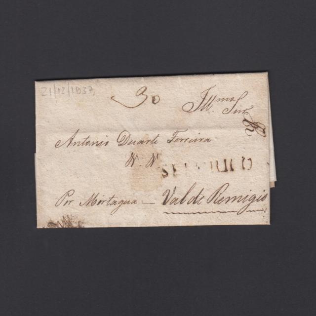 """Carta Pré-Filatélica circulada de Celorico """"SELORICO"""" para Vale de Remígio datada de 21-12-1837"""