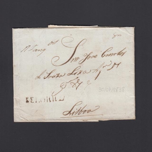 """Carta Pré-Filatélica circulada de Celorico """"SELORICO"""" para Lisboa datada de 30-07-1838"""