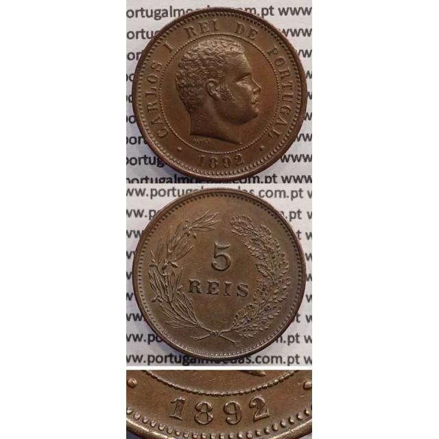 """5 REIS BRONZE 1892 """"VARIANTE DATA EMENDADA 2/1"""" (MBC+/BELA-) - D. CARLOS I"""