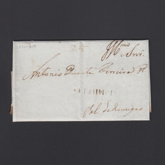 """Carta Pré-Filatélica circulada de Celorico """"SELORICO"""" para Vale de Remígio datada de 27-12-1838"""