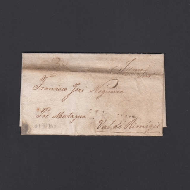 """Carta Pré-Filatélica circulada de Celorico """"SELORICO"""" para Vale de Remígio datada de 23-11-1840"""