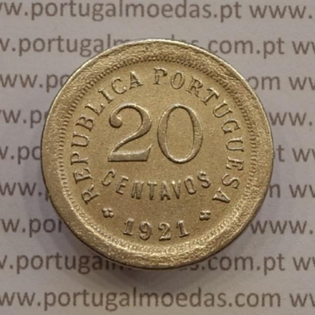 """MOEDA DE VINTE CENTAVOS (20 CENTAVOS) CUPRO NÍQUEL 1921 """"P"""" ABERTO MBC"""