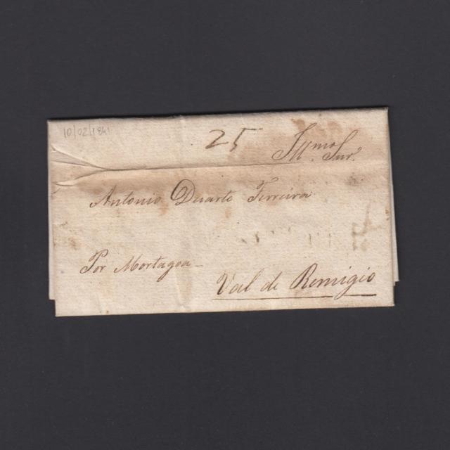 """Carta Pré-Filatélica circulada de Celorico """"SELORICO"""" para Vale de Remígio datada de 10-02-1841"""