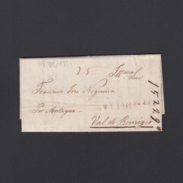 """Carta Pré-Filatélica circulada de Celorico """"SELORICO"""" para Vale de Remígio datada de 18-11-1841"""