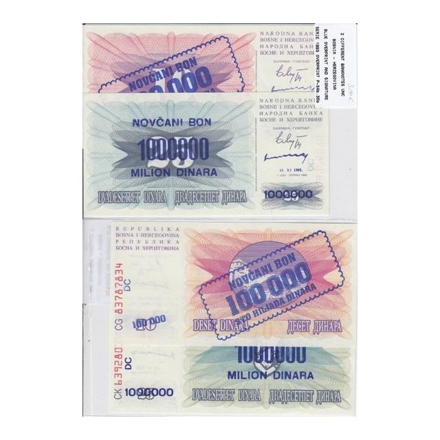 BOSNIA - LOTE DE 2 NOTAS DIFERENTES-SERIE 1993 ( NÃO CIRCULADA )
