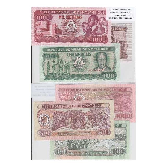 MOÇAMBIQUE - LOTE DE 3 NOTAS DIFERENTES - SERIE 1980-1989 (NÃO CIRCULADAS)