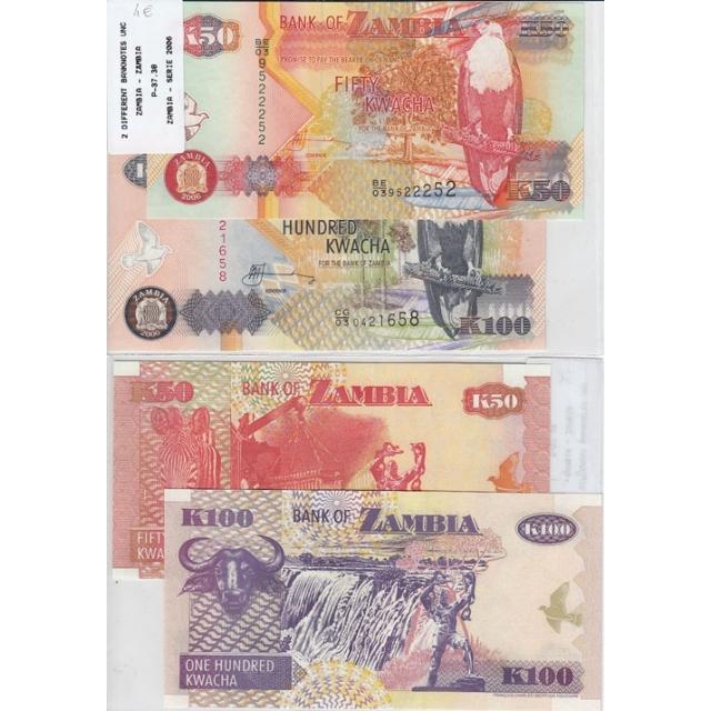 ZAMBIA - LOTE DE 2 NOTAS DIFERENTES-SERIE 2006 ( NÃO CIRCULADAS)2