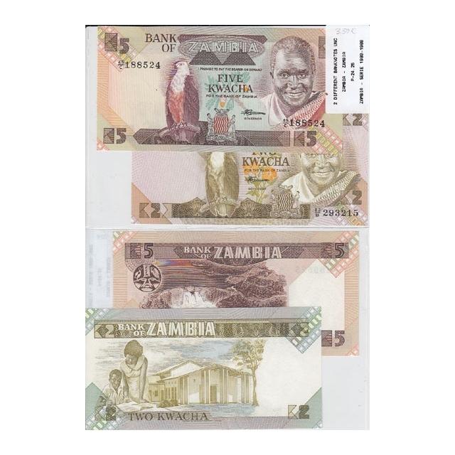 ZAMBIA - LOTE DE 2 NOTAS DIFERENTES-SERIE 1980-1988 ( NÃO CIRCULADAS)2