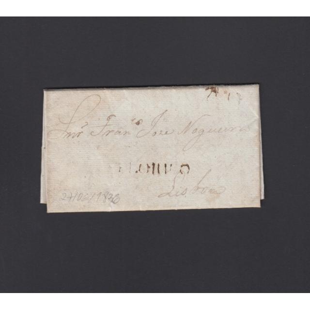 """Carta Pré-Filatélica circulada de Celorico """"SELORICO"""" para Lisboa datada de 27-06-1836"""