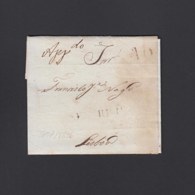 """Carta Pré-Filatélica circulada de Celorico """"SELORICO"""" para Lisboa datada de 05-07-1836"""