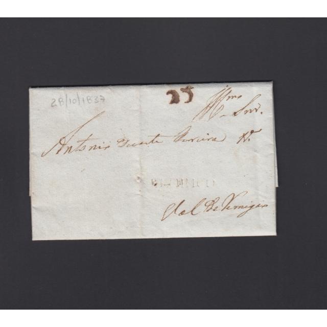 """Carta Pré-Filatélica circulada de Celorico """"SELORICO"""" para Vale de Remígio datada de 28-10-1837"""