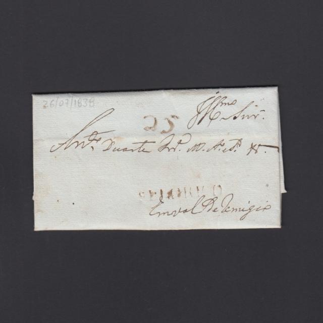 """Carta Pré-Filatélica circulada de Celorico """"SELORICO"""" para Vale de Remígio datada de 26-07-1838"""
