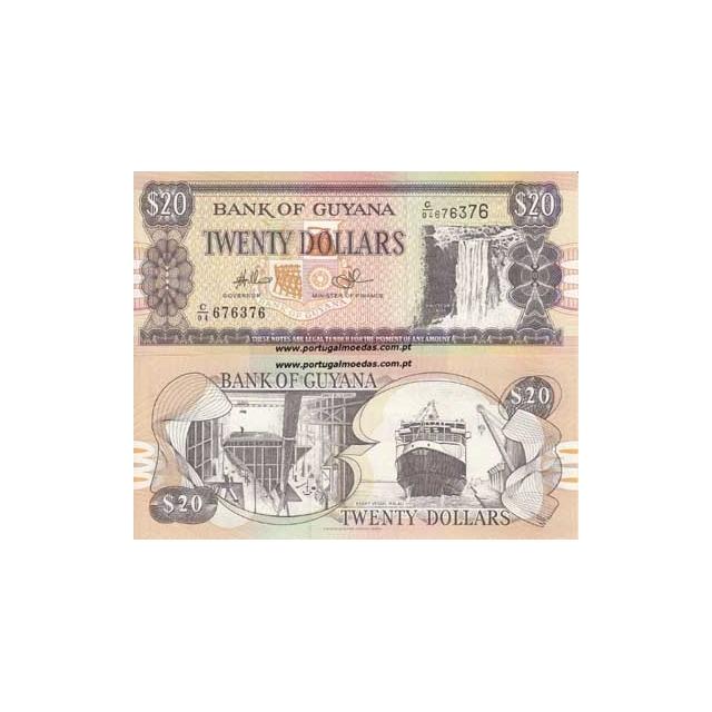 GUYANA- NOTA DE 20 DOLLARS 1996 (NÃO CIRCULADA)