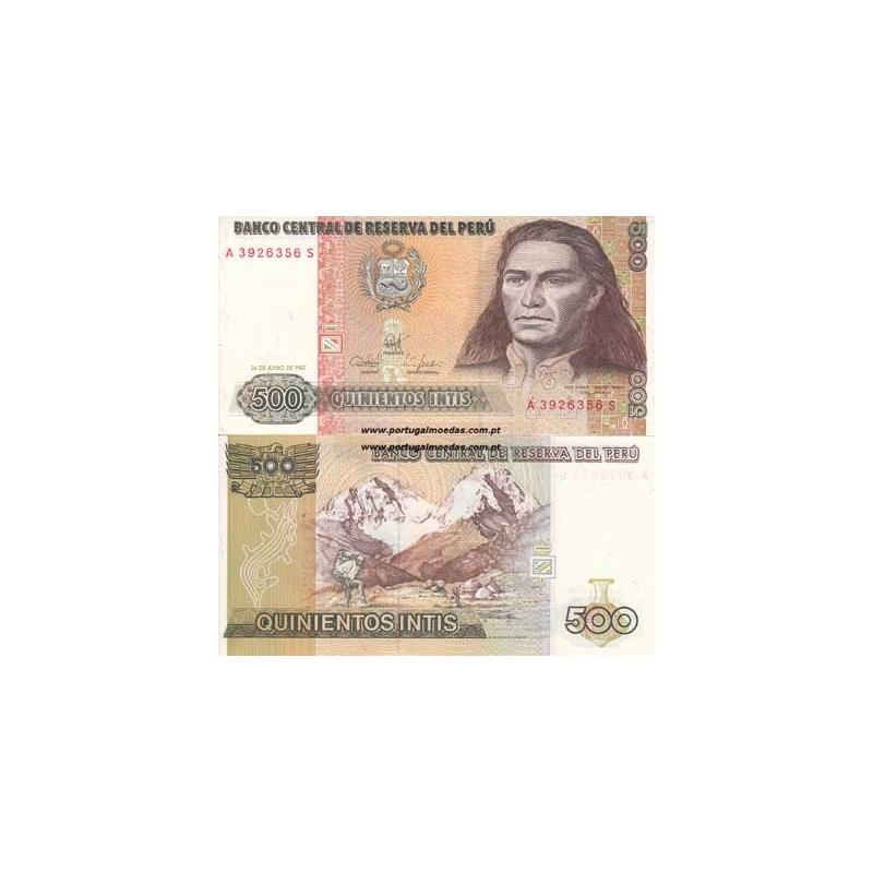PERU- NOTA DE 500 INTIS 1987 ( NÃO CIRCULADA )
