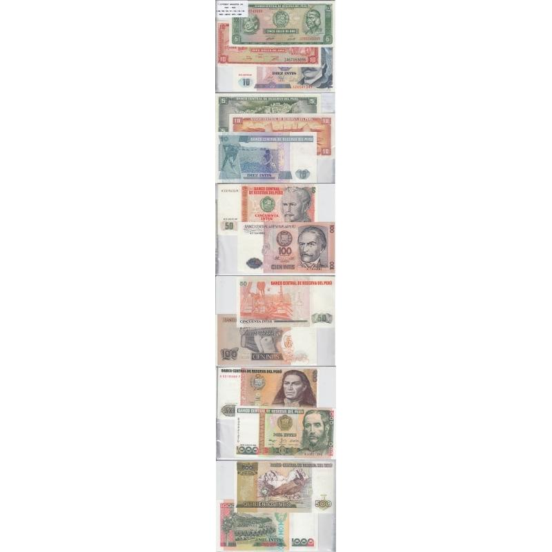 PERU - LOTE DE 7 NOTAS DIFERENTES - SERIE 1974-1988 (NÃO CIRCULADAS)