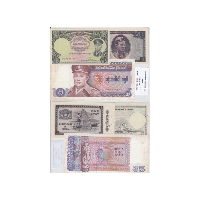 BURMA/MYANMAR - LOTE DE 3 NOTAS DIFERENTES-SERIE 1958-1986 ( NÃO CIRCULADAS)