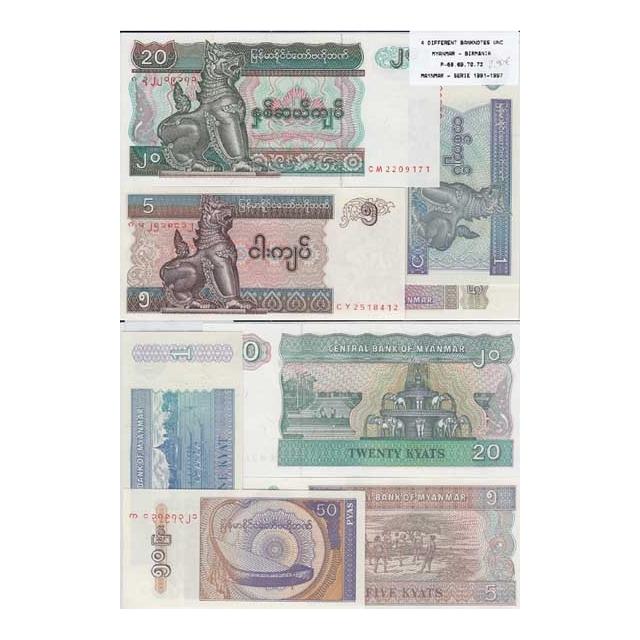 MYANMAR - LOTE DE 4 NOTAS DIFERENTES-SERIE 1991-1997 ( NÃO CIRCULADAS)