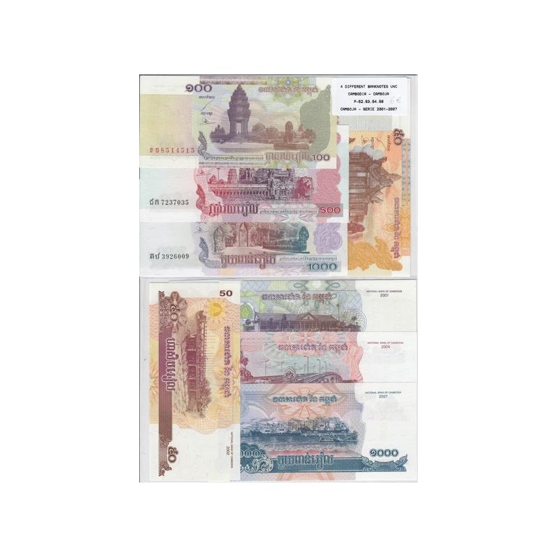 CAMBODJA - LOTE DE 4 NOTAS DIFERENTES - SERIE 2001-2007 (NÃO CIRCULADAS)