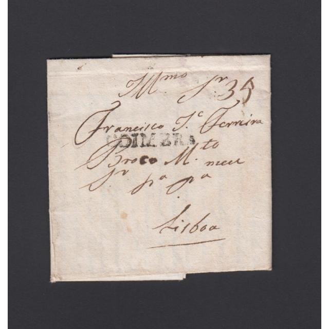 Carta Pré-Filatélica circulada de Coimbra para Lisboa datada de 09-11-1823