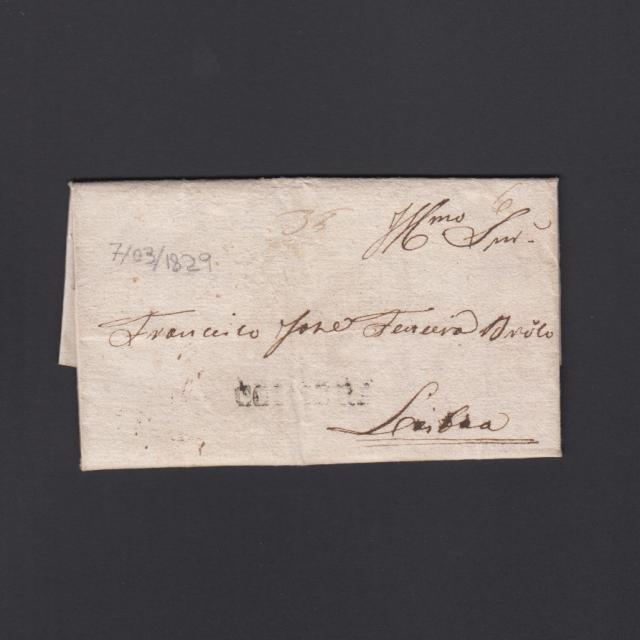 Carta Pré-Filatélica circulada de Coimbra para Lisboa datada de 07-03-1829