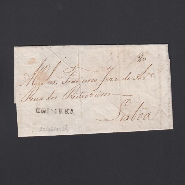 Carta Pré-Filatélica circulada de Coimbra para Lisboa datada de 20-06-1829
