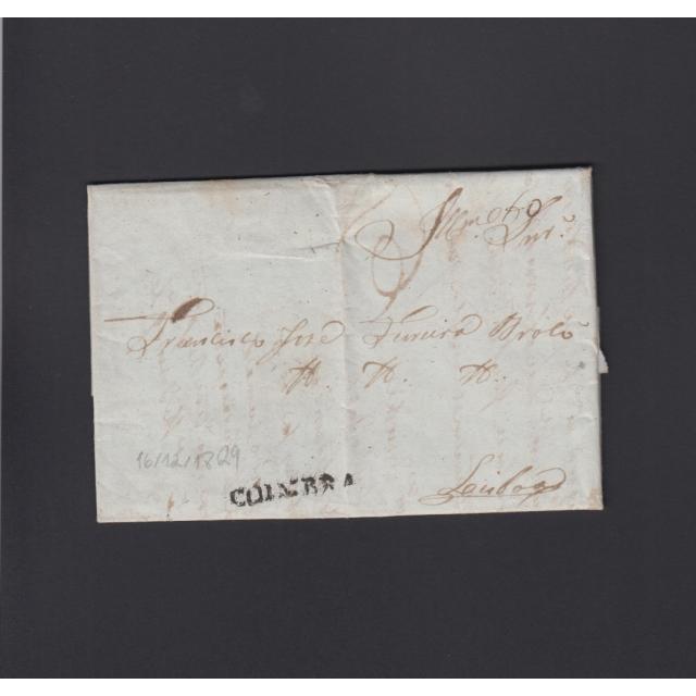 Carta Pré-Filatélica circulada de Coimbra para Lisboa datada de 10-12-1829