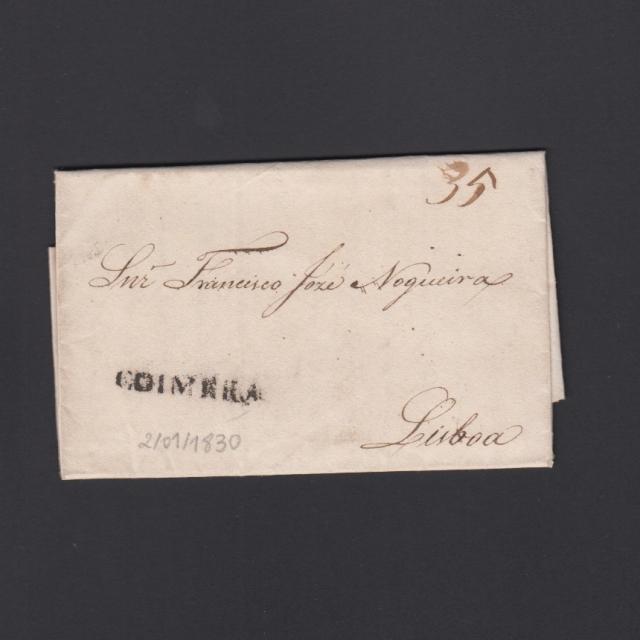 Carta Pré-Filatélica circulada de Coimbra para Lisboa datada de 02-01-1830