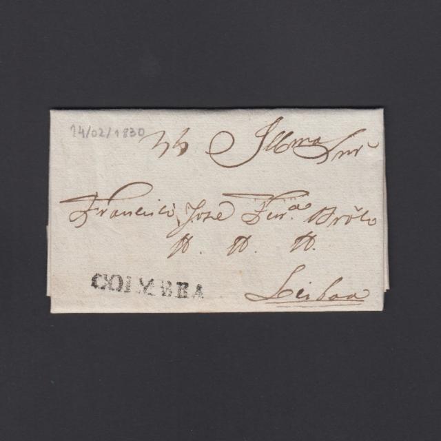 Carta Pré-Filatélica circulada de Coimbra para Lisboa datada de 14-02-1830