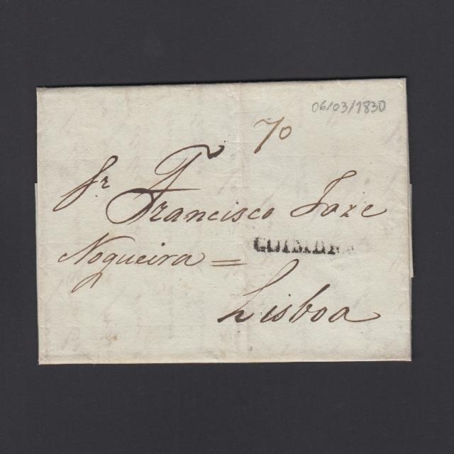Carta Pré-Filatélica circulada de Coimbra para Lisboa datada de 06-03-1830