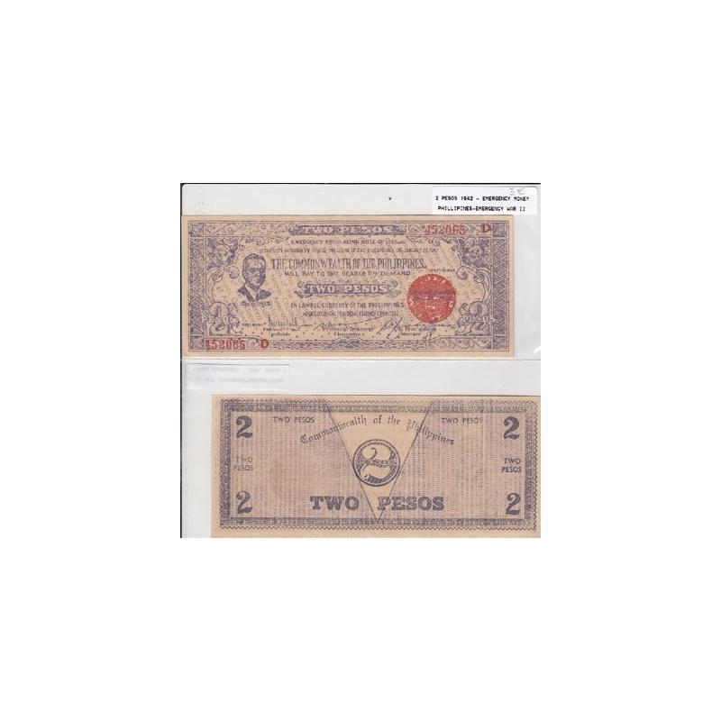 FILIPINAS- NOTA DE 2 PESOS 1942- DINHEIRO DE EMERGÊNCIA-2ª GUERRA (NÃO CIRCULADA)