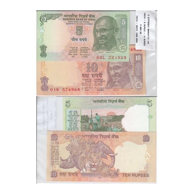 INDIA - LOTE DE 2 NOTAS DIFERENTES-SERIE 1996-2002 ( NÃO CIRCULADA )