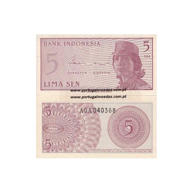 INDONÉSIA- NOTA DE 5 SEN 1964 (NÃO CIRCULADA)