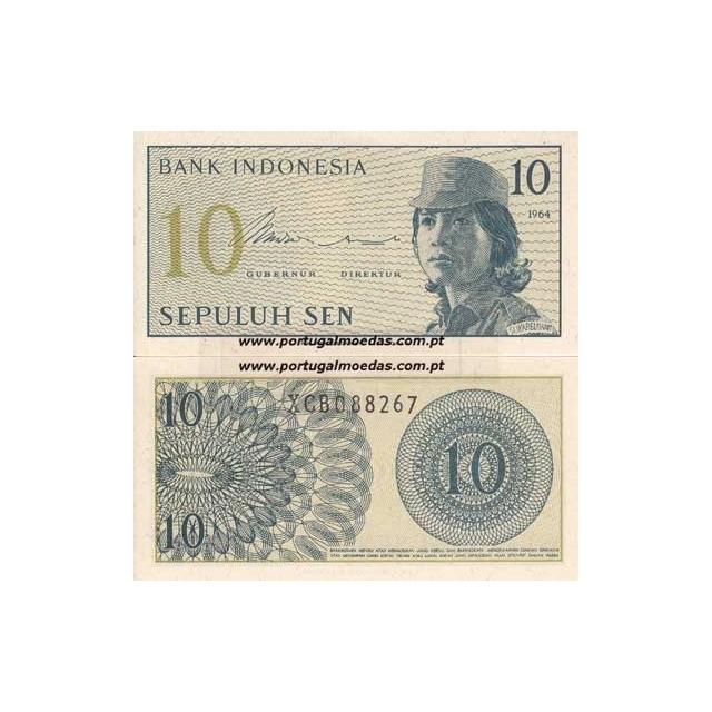 INDONÉSIA- NOTA DE 10 SEN 1964 (NÃO CIRCULADA)