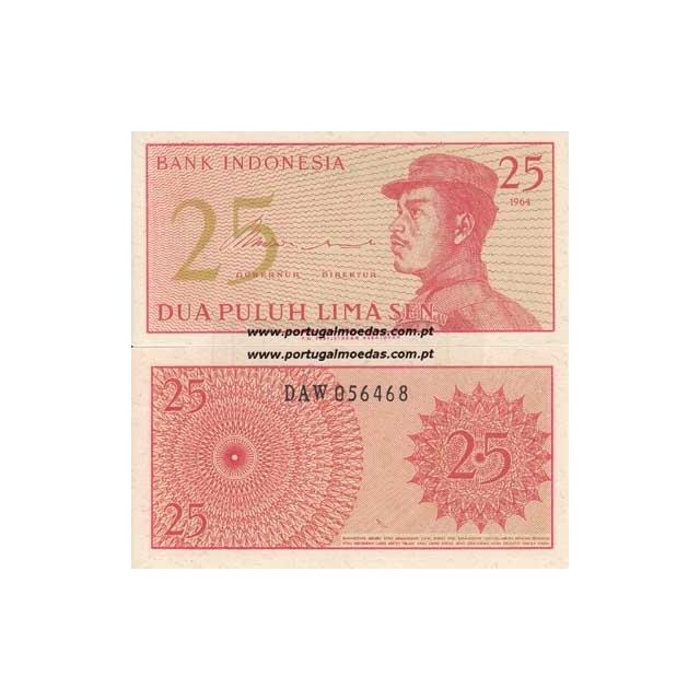 INDONÉSIA- NOTA DE 25 SEN 1964 (NÃO CIRCULADA)