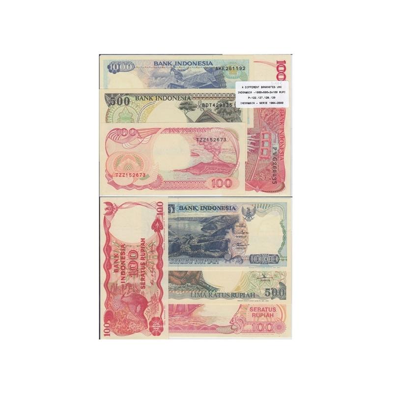INDONÉSIA - LOTE DE 4 NOTAS DIFERENTES-SERIE 1984-2000 ( NÃO CIRCULADA )
